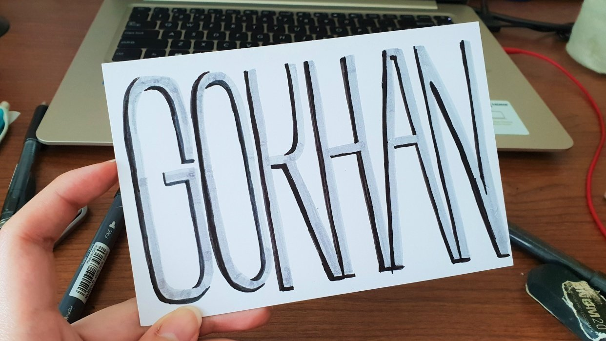 Hand-lettered Name Postcard - student project