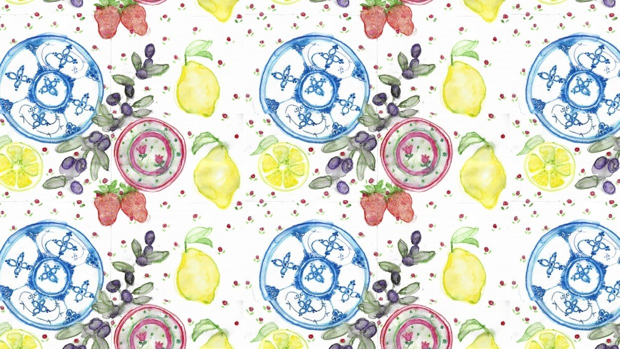 Assignment; Wallpaper pattern, Watercolor on paper, cut-out - student project