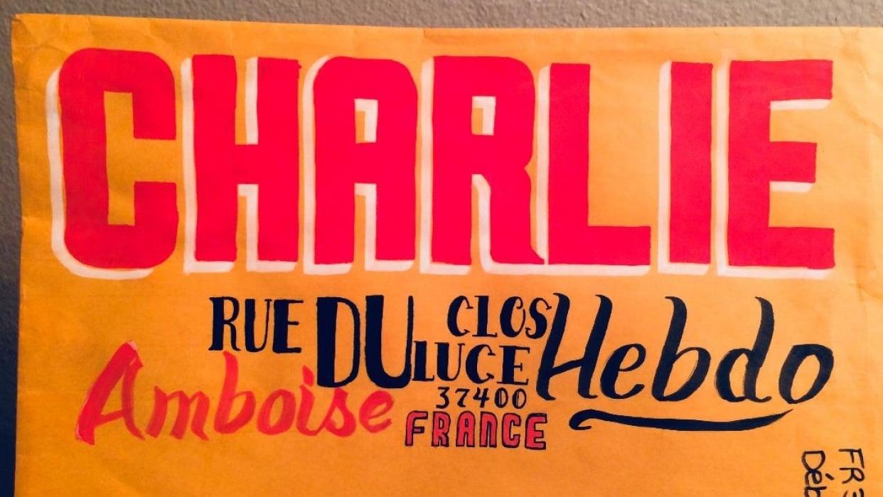 Hand Lettered Envelope/Charlie Hebdo - student project