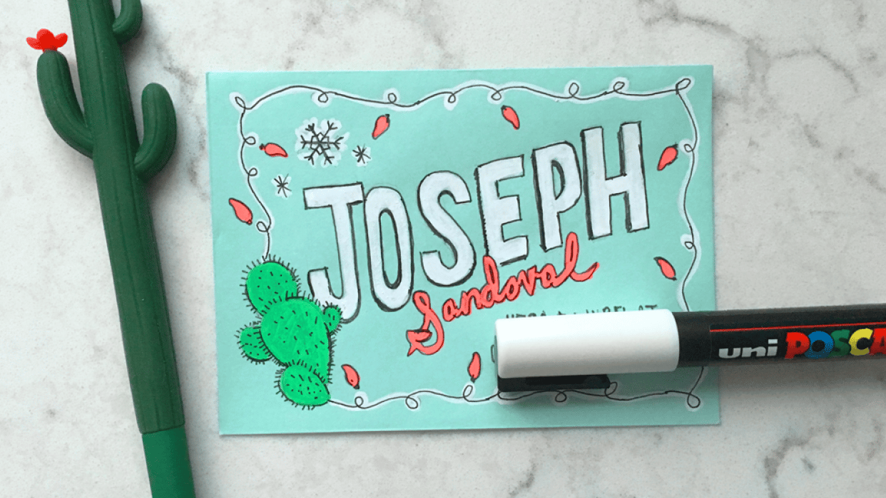 Holiday Hand Lettered Envelope Project - student project