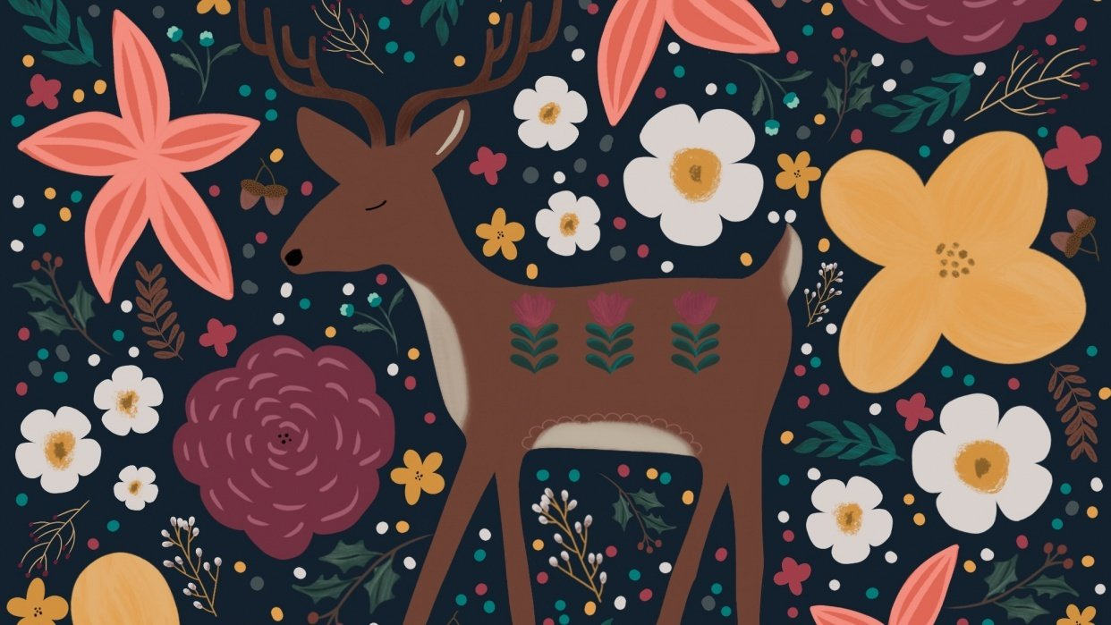 Modern floral deer - student project