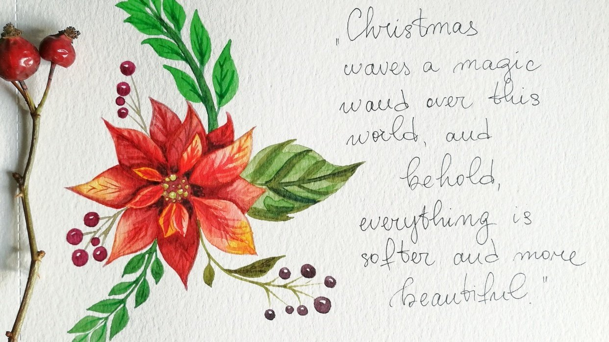 Watercolor Poinsettia - student project