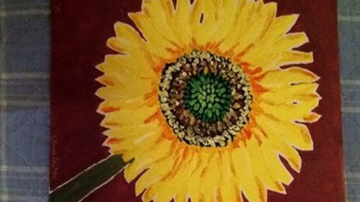 Sunflower painting on canvas - student project