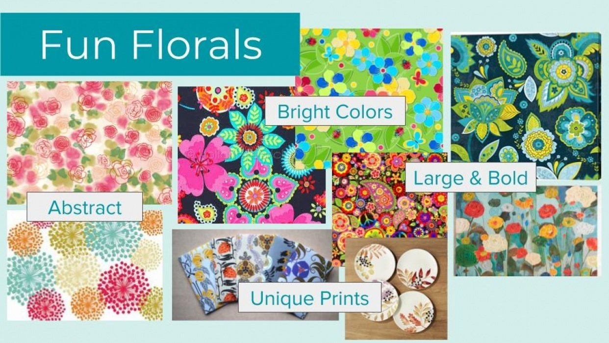 Fun Florals Mood Board - student project
