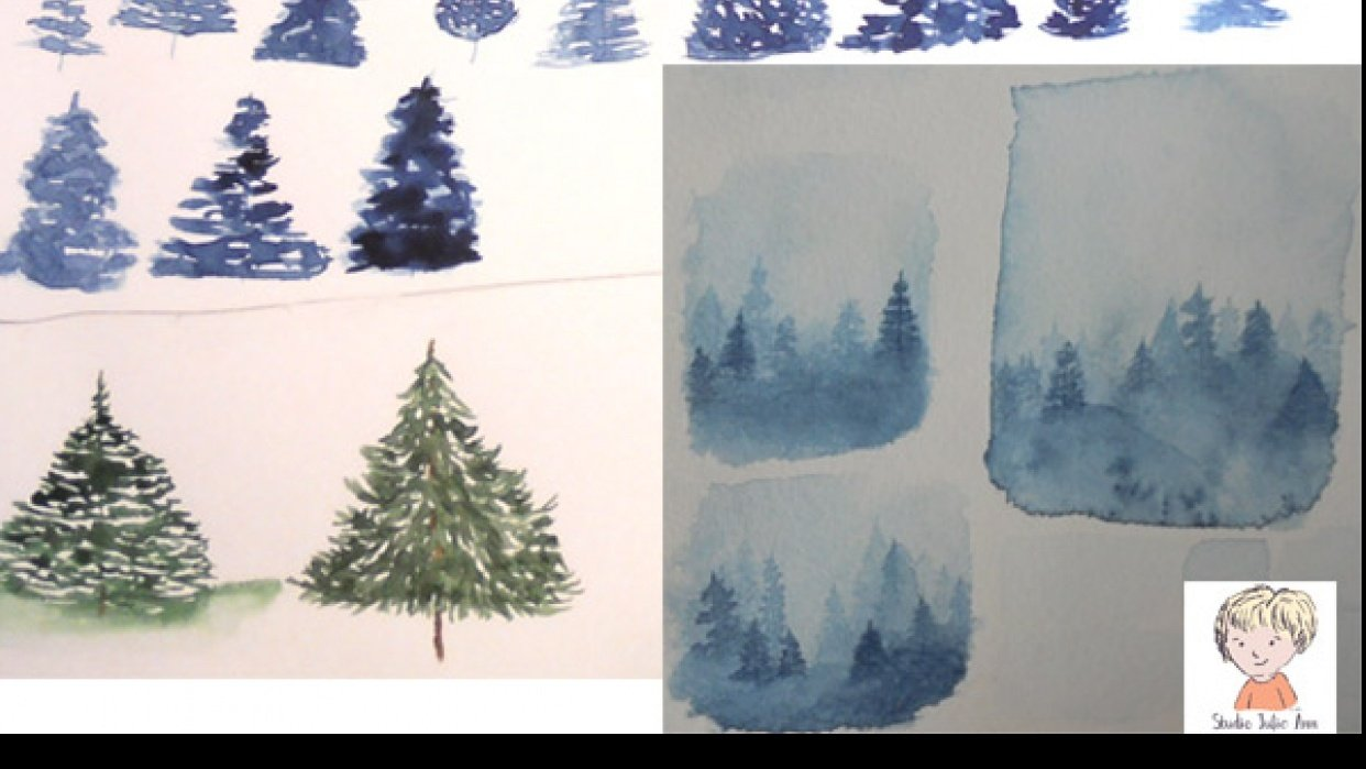 Misty Watercolor Forest Projects - student project