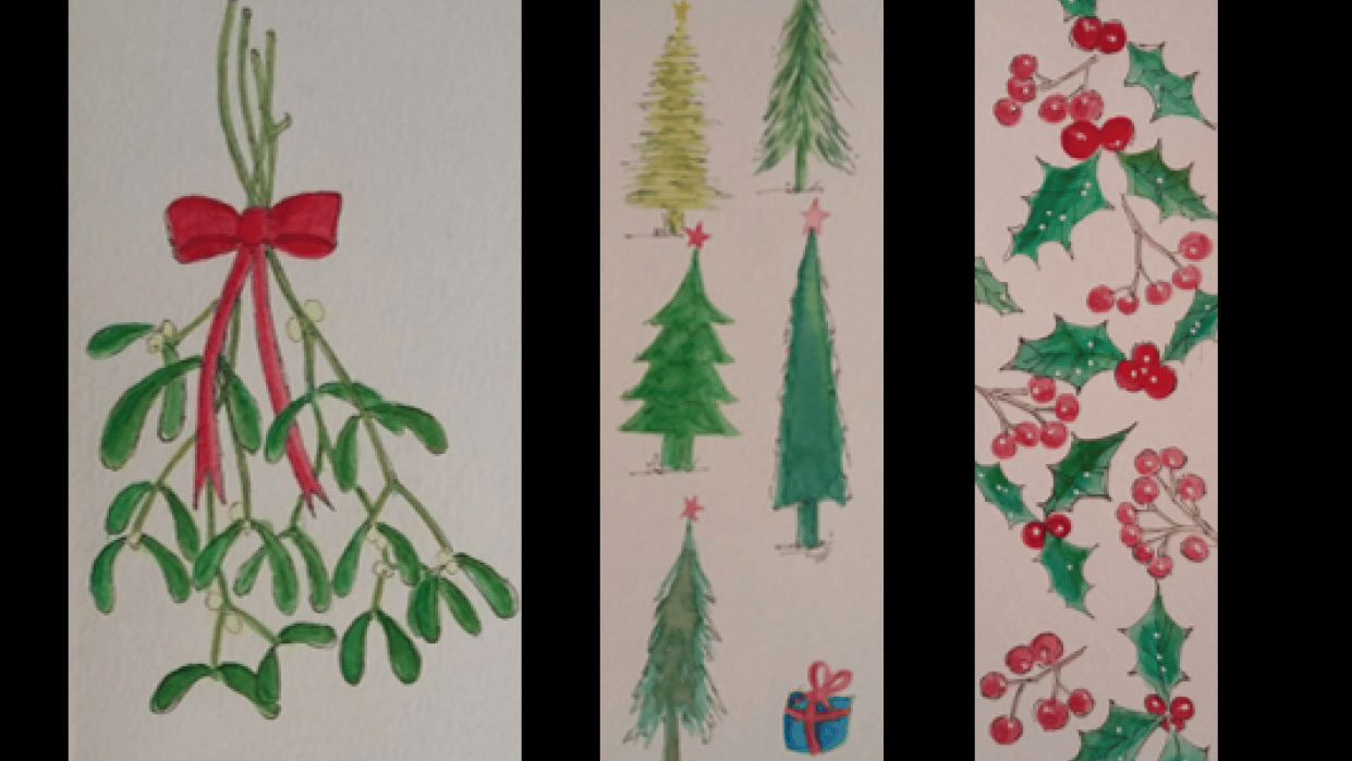 Watercolor Christmas Bookmarks - student project