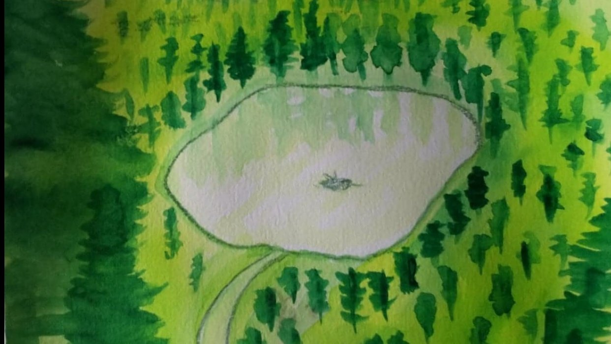 Water color: lonely fisherman. - student project