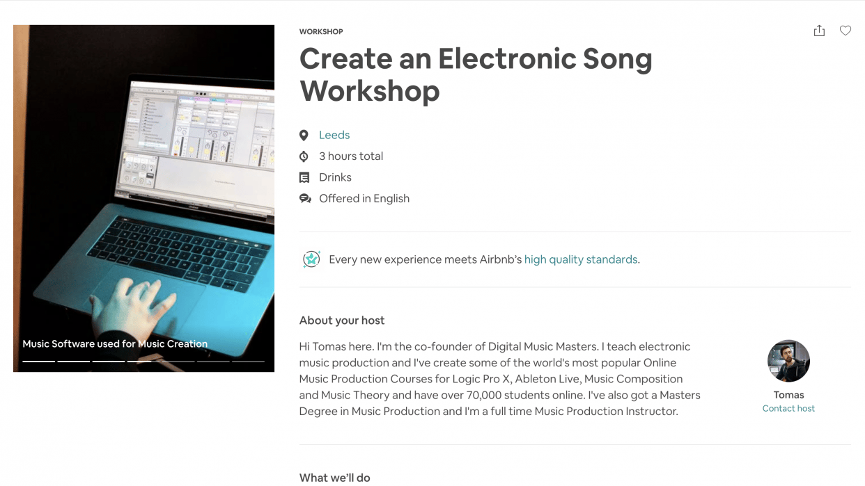 My Airbnb Experience for Creating an Electronic Song Workshop - student project