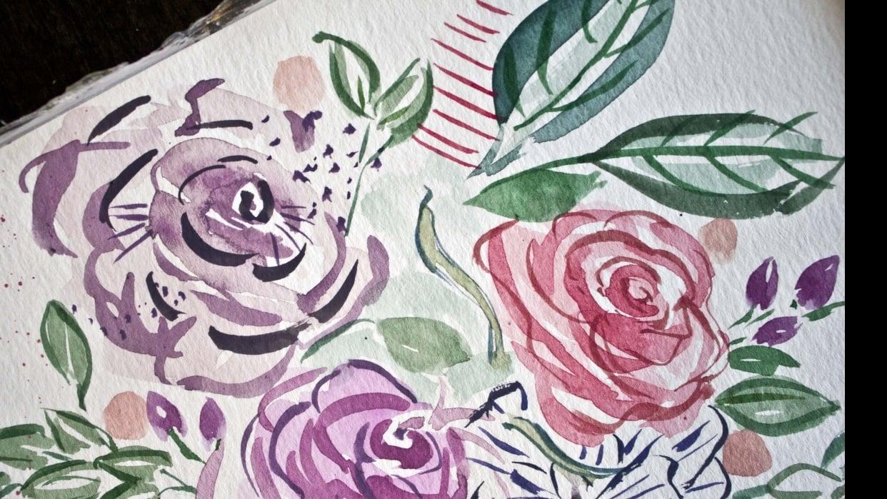 My expressive illustrative floral practice bouqet - student project