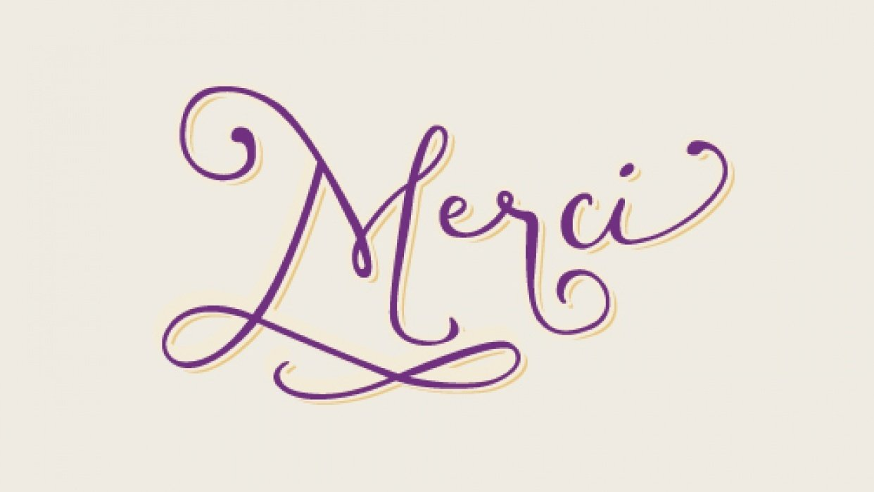 """Curly """"Merci"""" Script Letters - student project"""