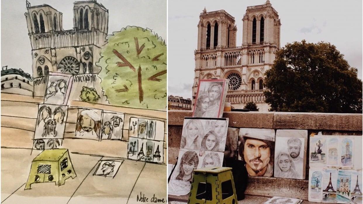 Sketching Notre dame de Paris - student project