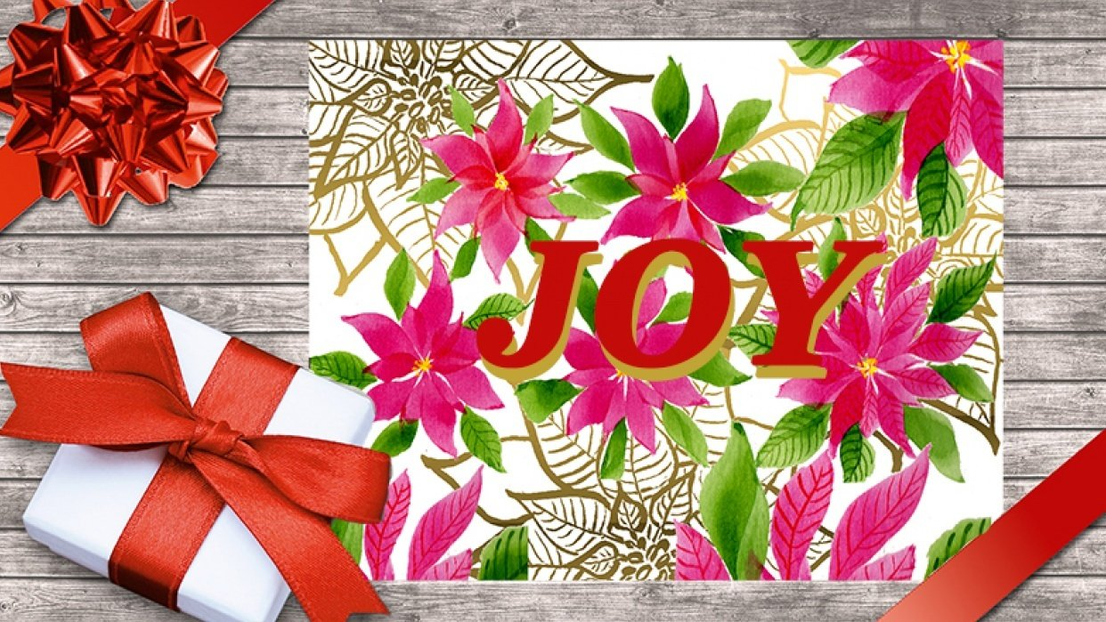 Christmas greeting card with Poinsettia - student project
