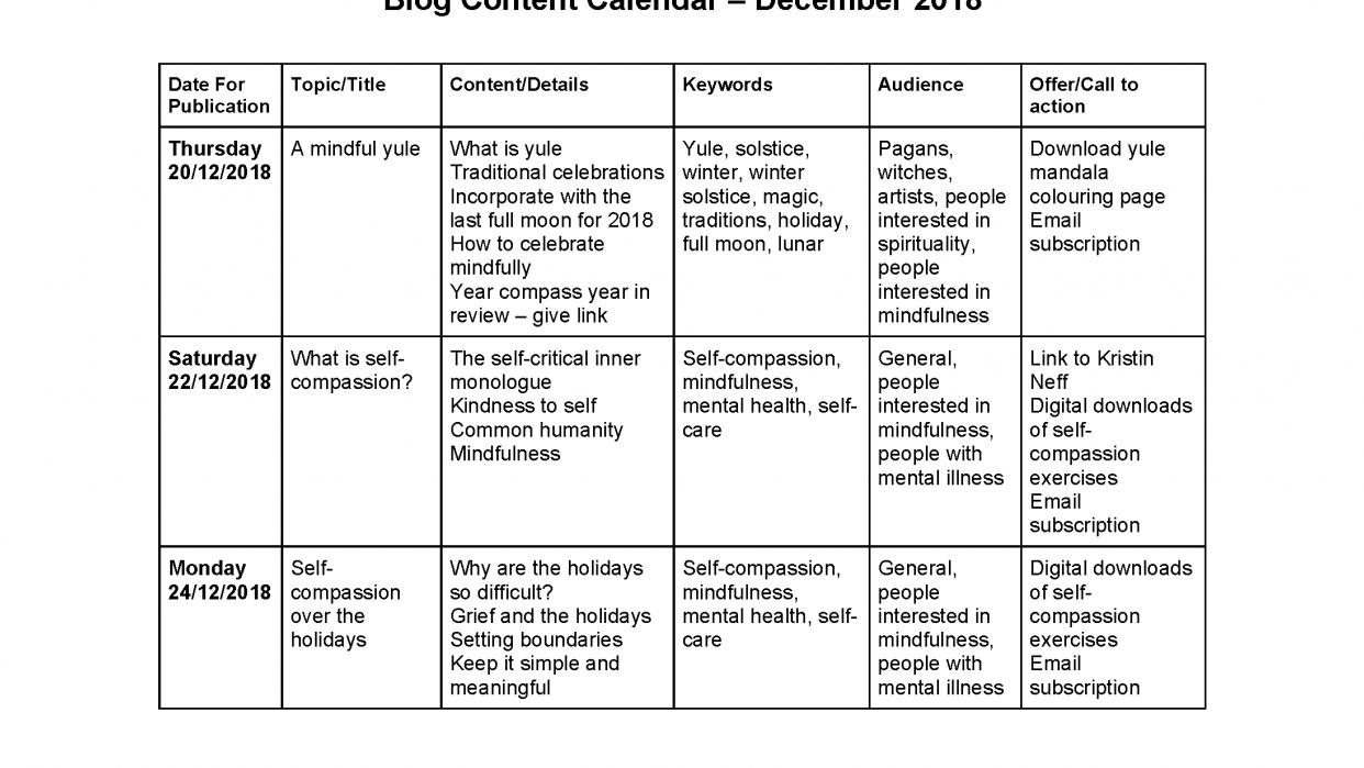 Content calendar - student project