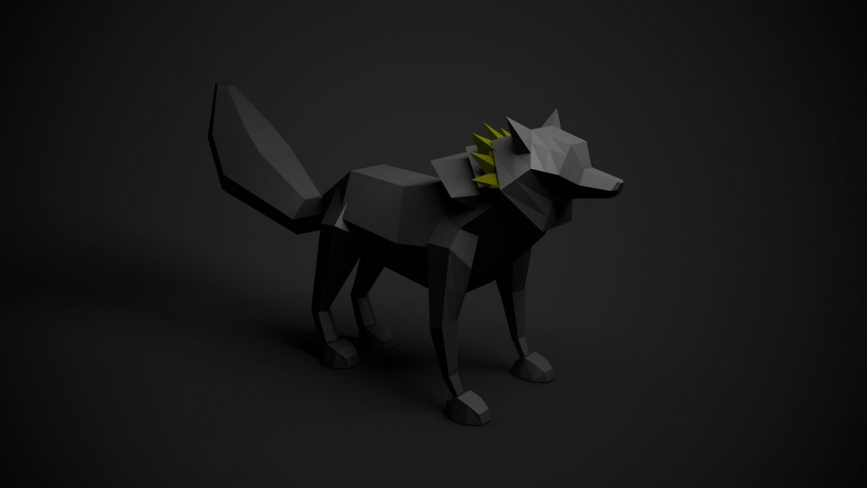 Low Poly Wolf - student project