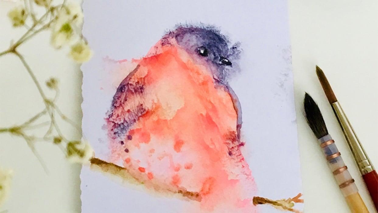 Bullfinch Monoprint - student project