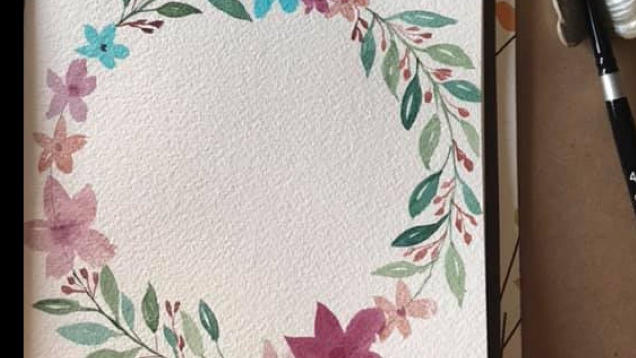 Flower Watercolor Wreath - student project
