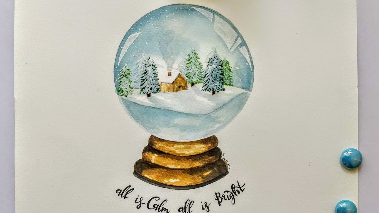 Snow Globes with Hand Lettering - student project