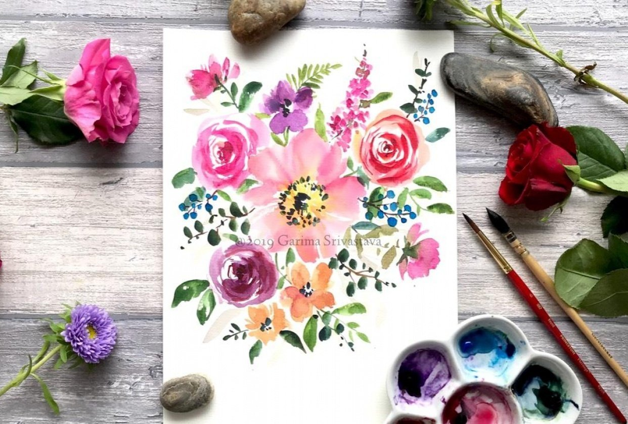 Watercolor Loose Florals: Class Project Sample - student project