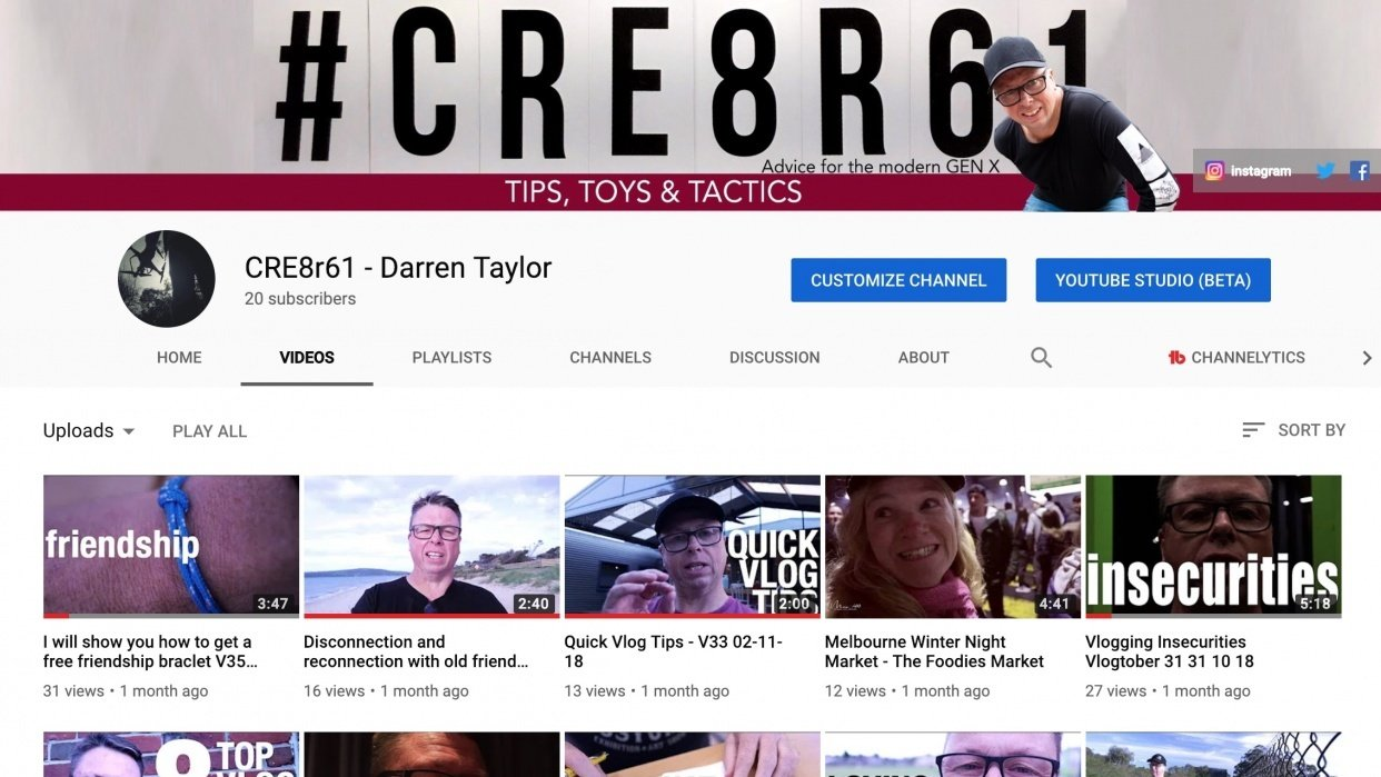 Channel Art for CRE8r61 - My YouTube Channel - student project