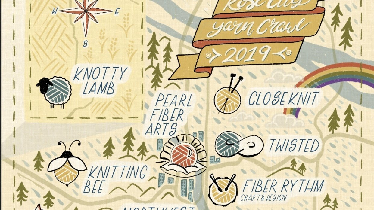 Illustrated map of the Rose City Yarn Crawl 2019 - student project