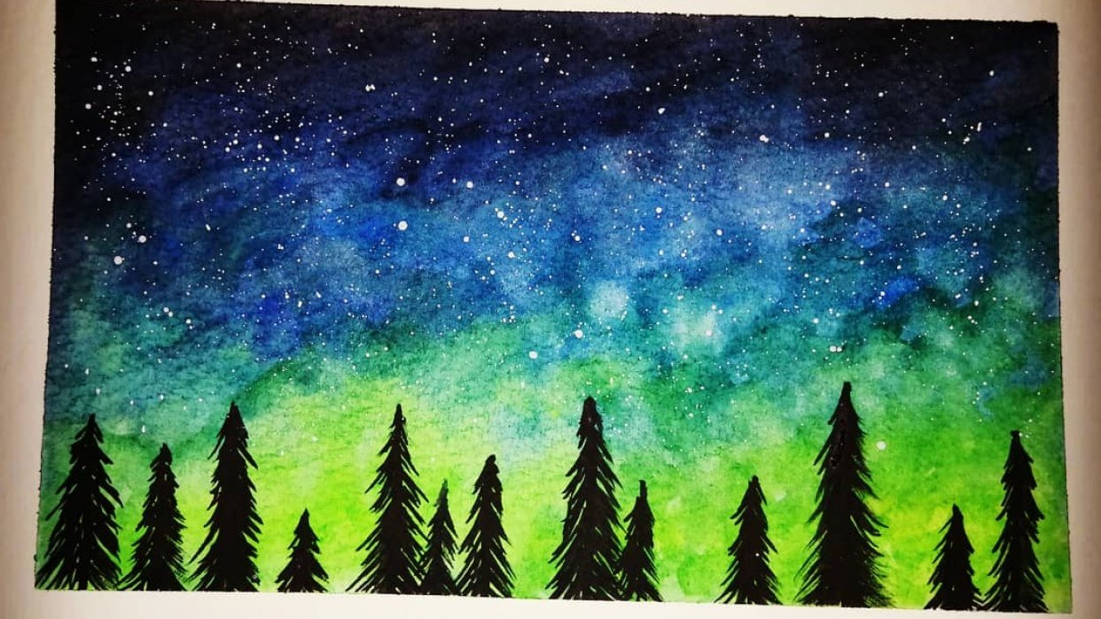 Watercolour Stary Night Sky - student project