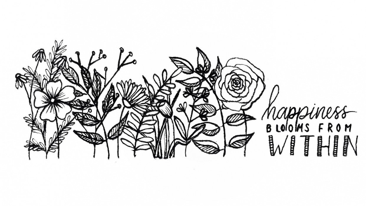 Floral Line drawing - student project
