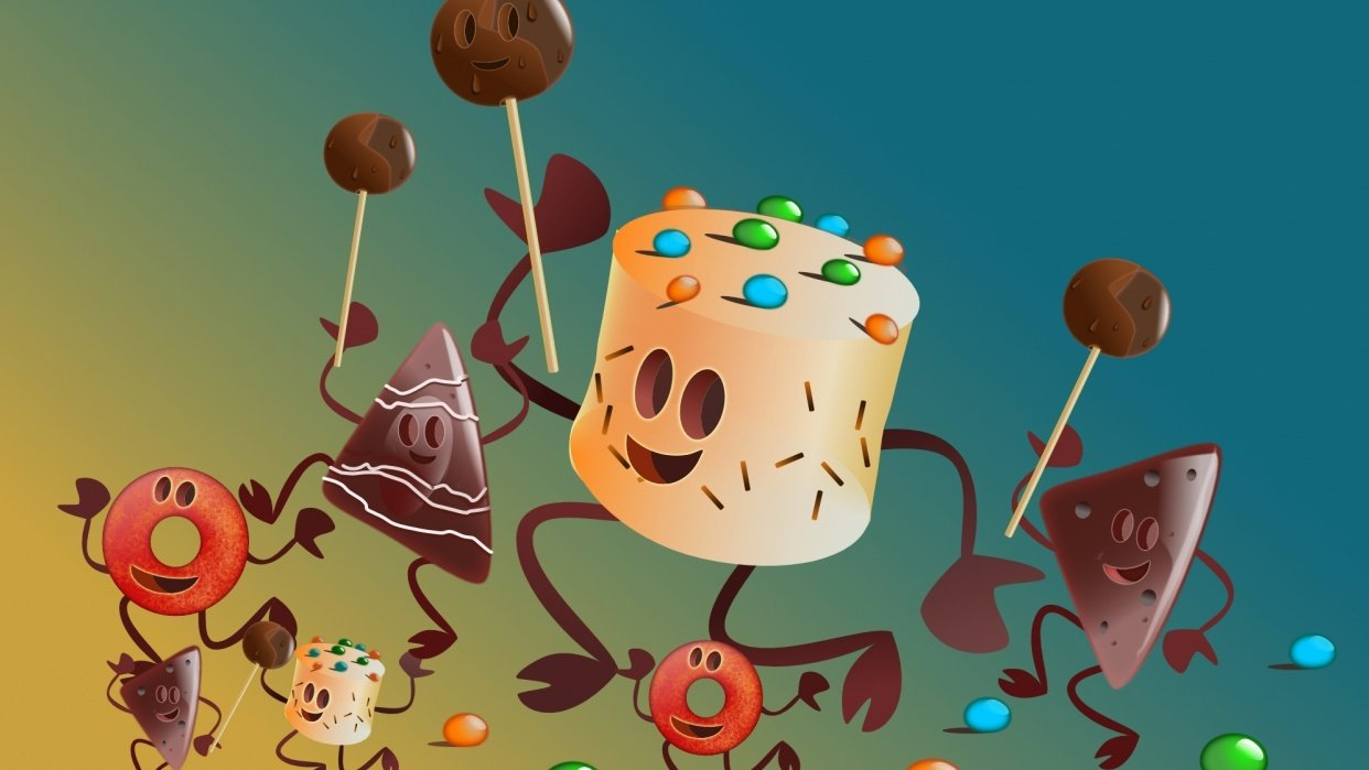Vector illustration, dancing pastry - student project