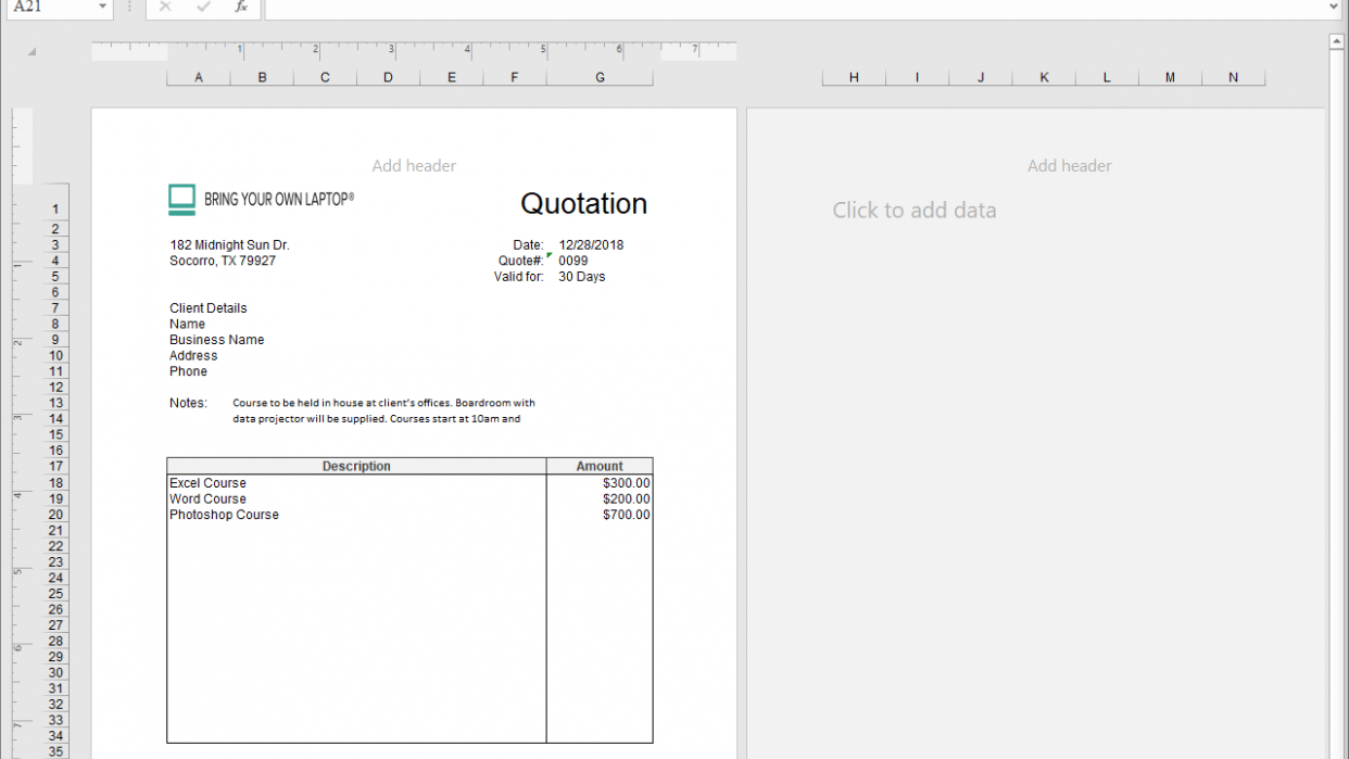 Simple Invoice, Data clean Up, Pivot table - student project