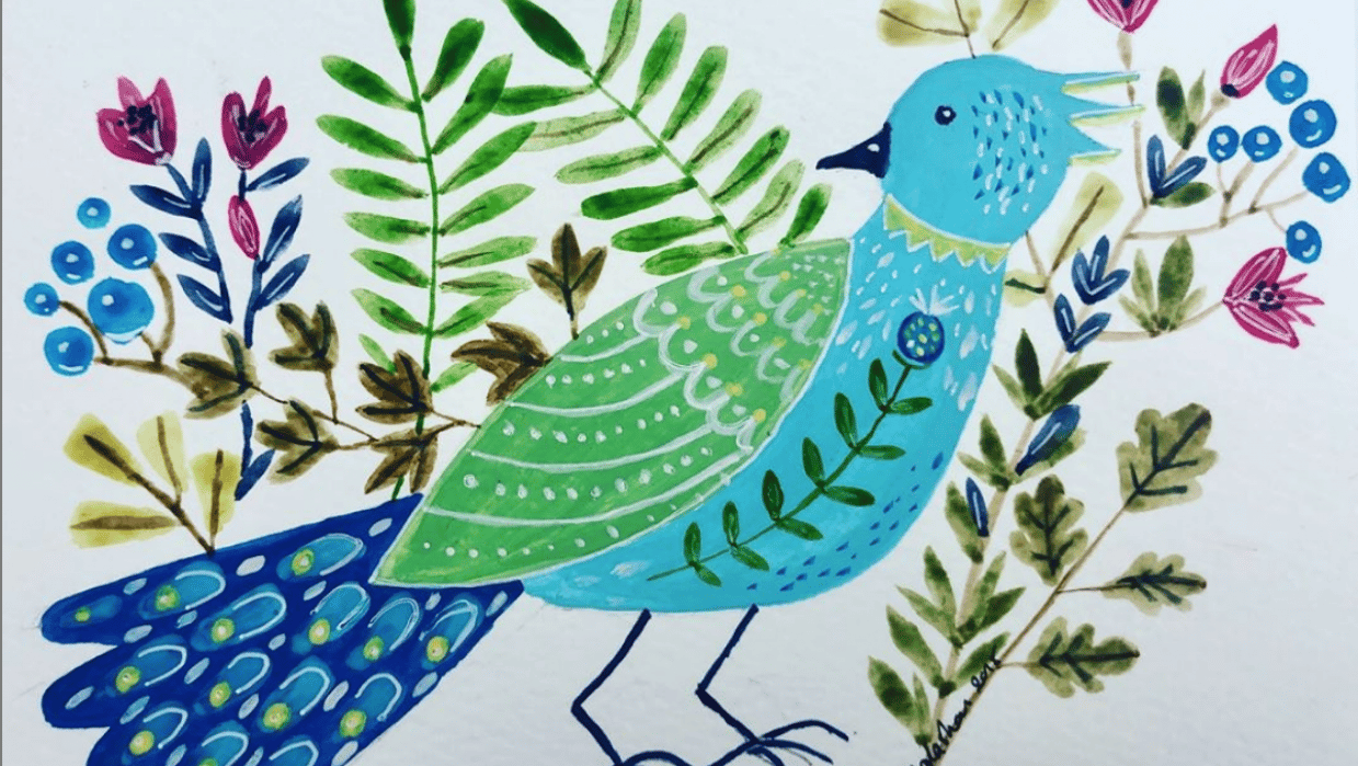 Folk Art Birdie with Foliage - student project
