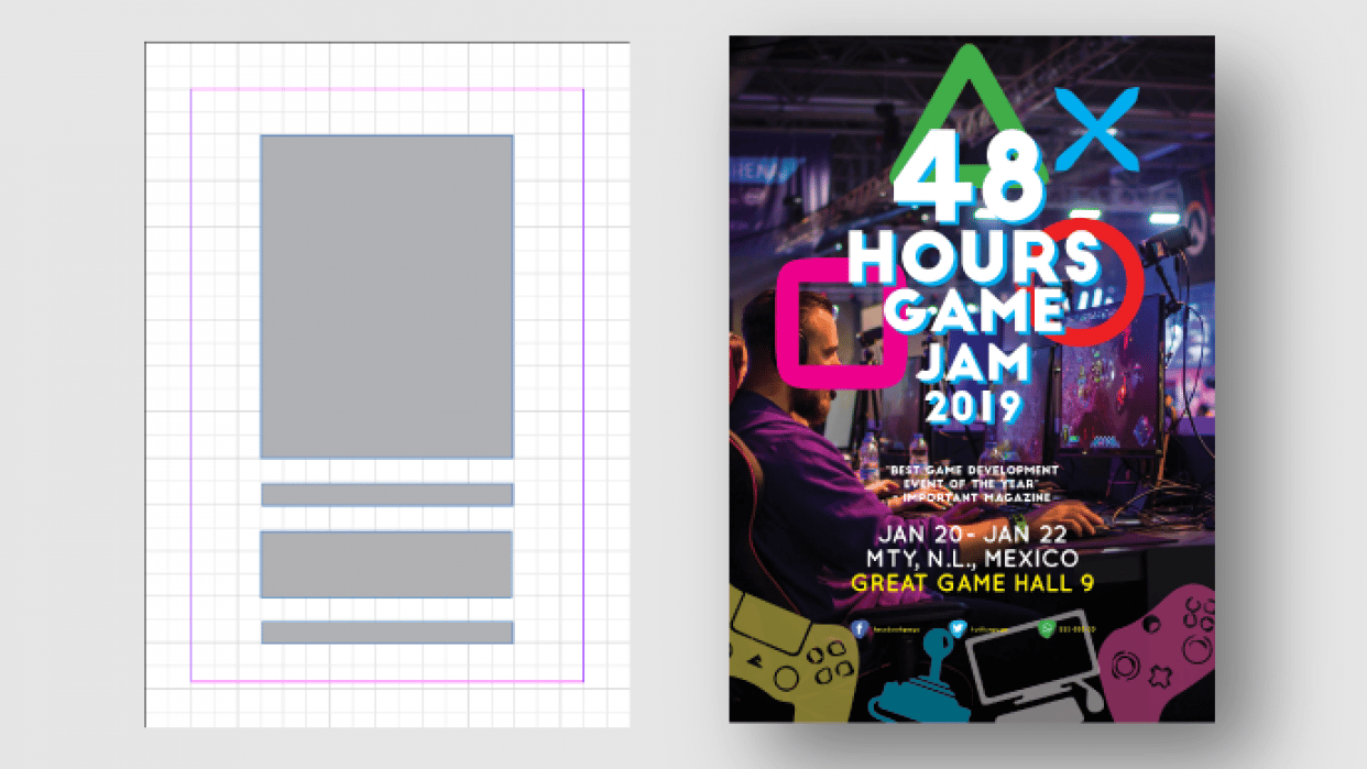 Game Jam Poster Layout Design - student project