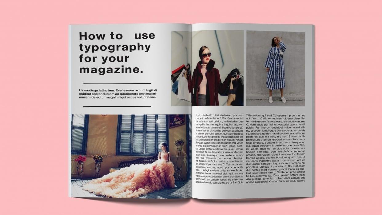 Fashion magazine layout mockup - student project