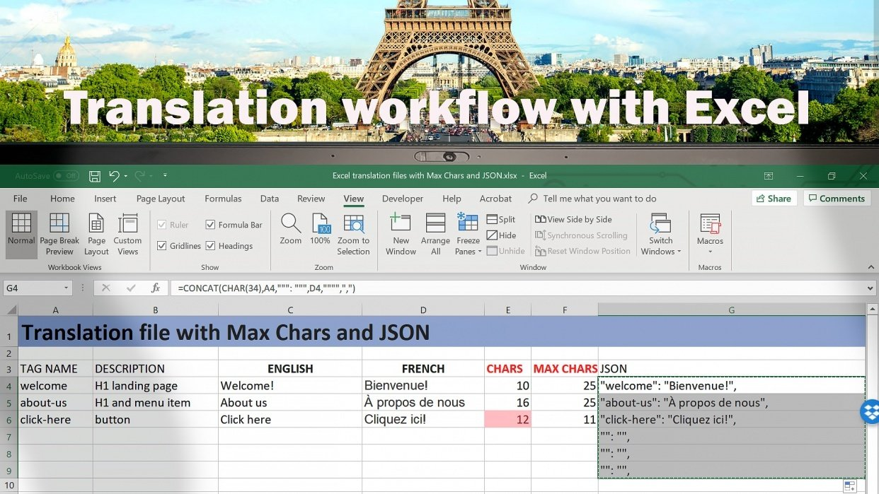 Efficient translator workflow with Excel for multilingual websites JSON MaxChars - student project