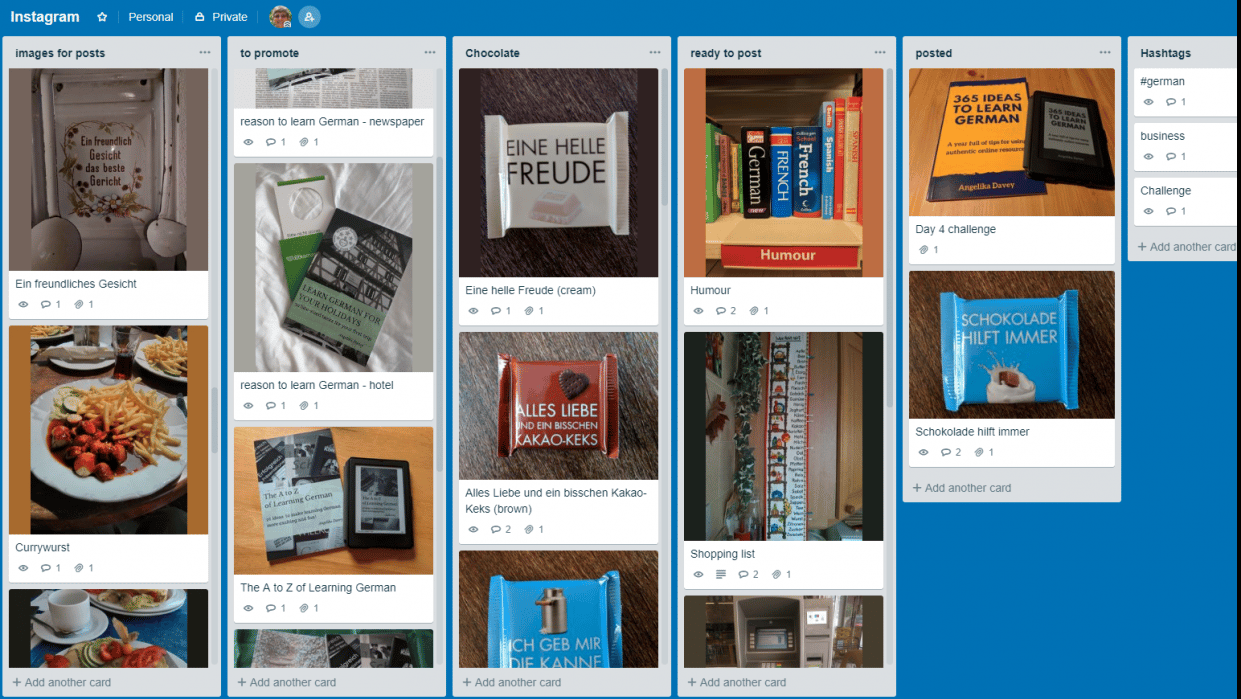 Organising my photos for Instagram with Trello - student project