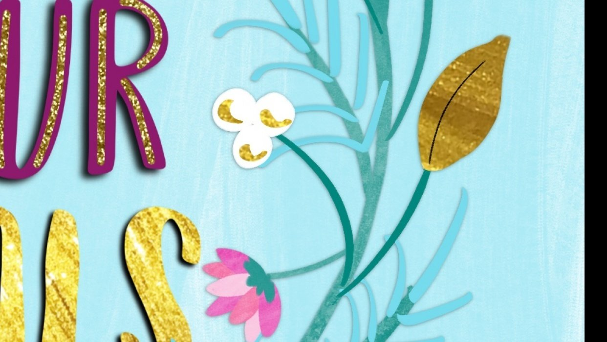 Using The Glitter and Gold images and Gouache Brushes - student project
