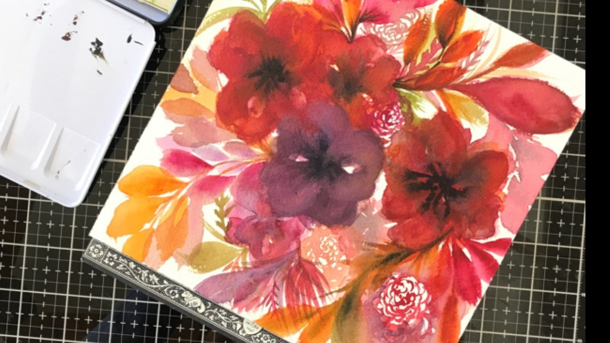 Painting Flowy Flowy Florals - student project