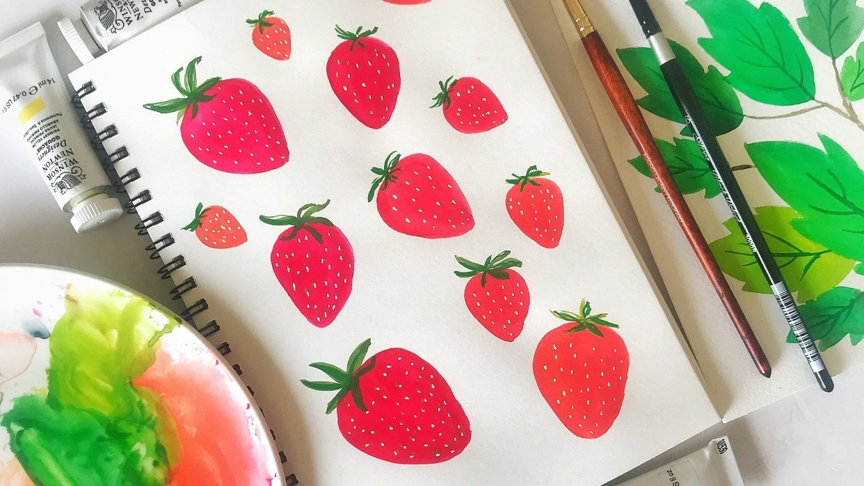 Gouache painting - Strawberries - student project
