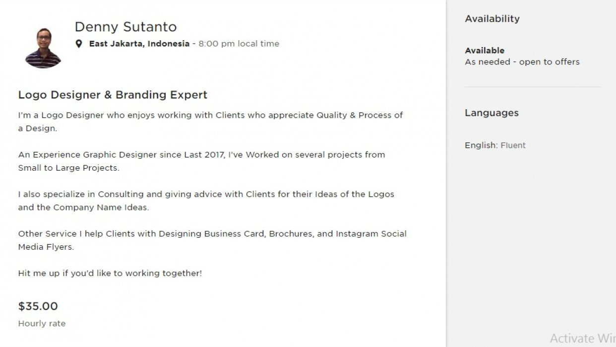 My Upwork Profile - student project