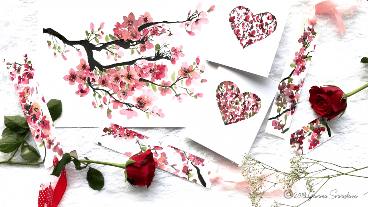 Watercolor Cherry Blossoms: 3 Fun and Easy Projects - student project