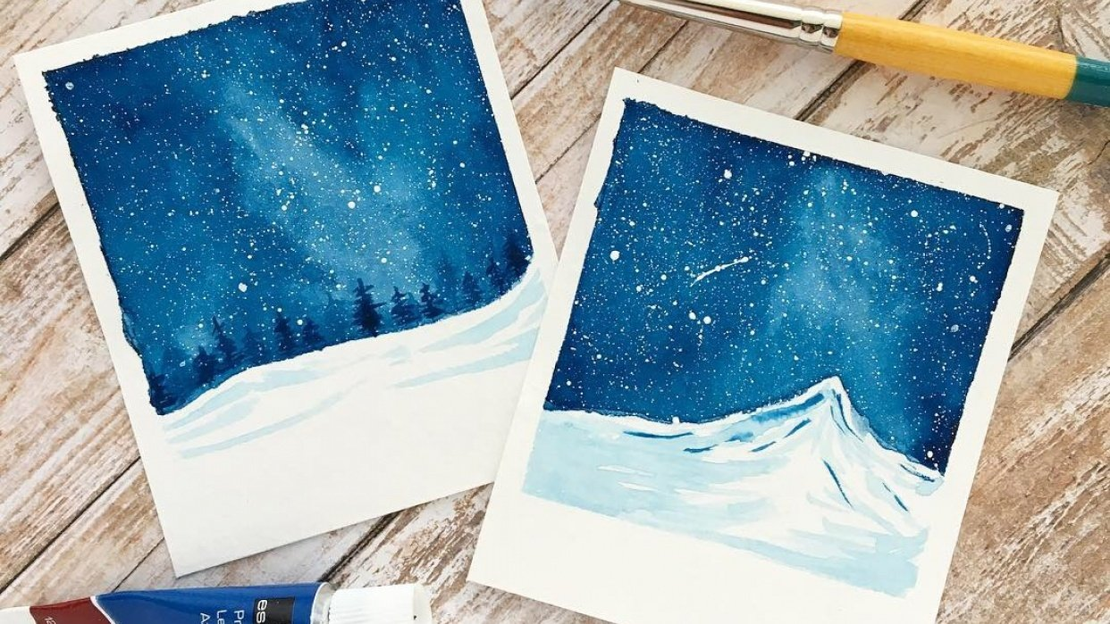 """""""Snowy Galaxy Landscape Painting with Watercolors"""" Class by Zaneena Nabeel - student project"""