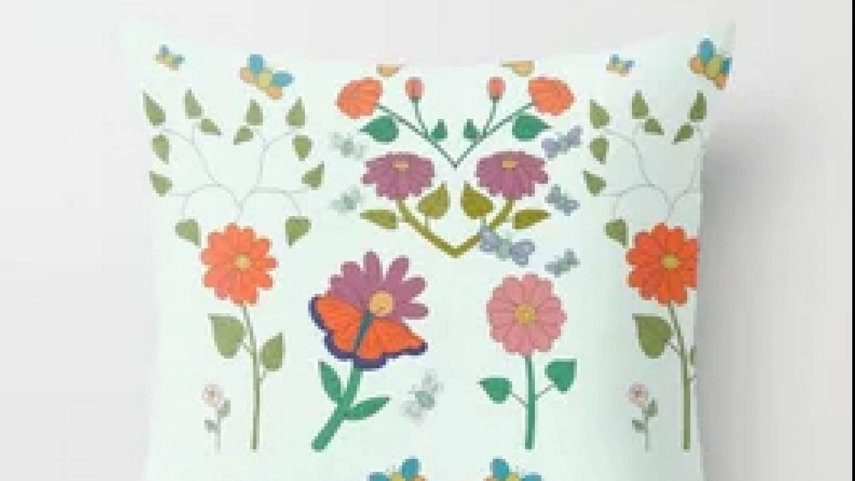 Fantasy Flowers & Butterflies Pillow - student project