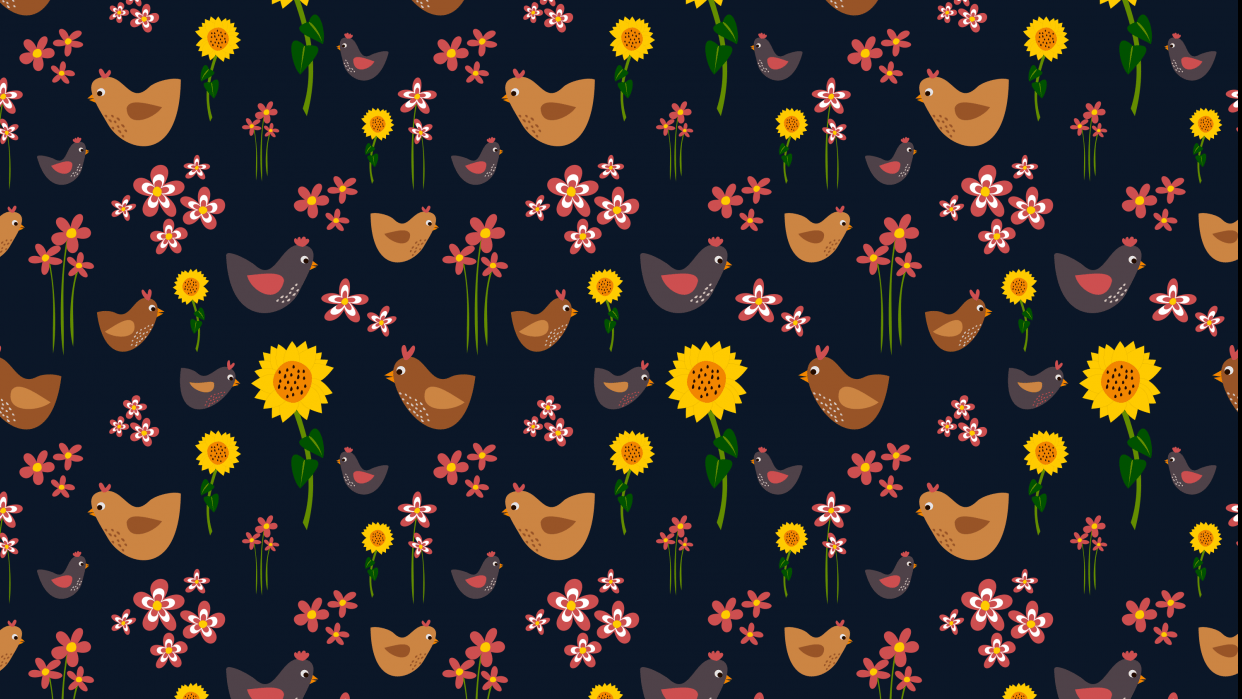 Sunflowers and chickens - student project