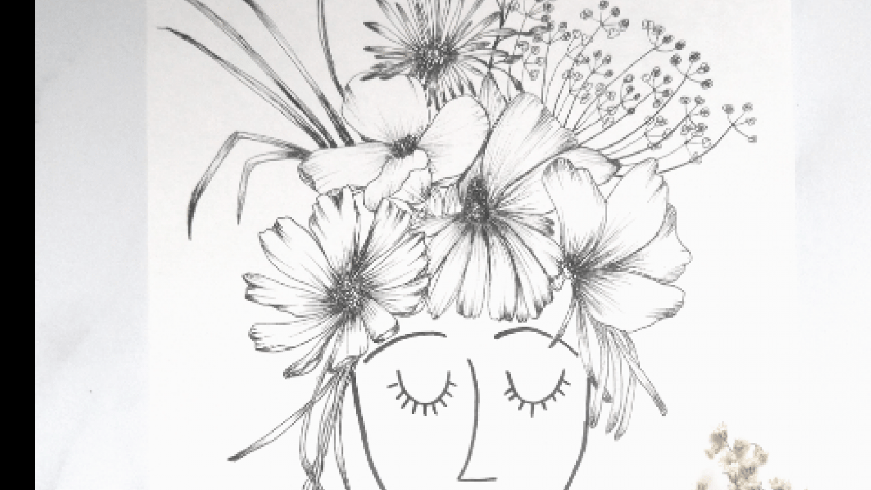 Girl with flowers - student project