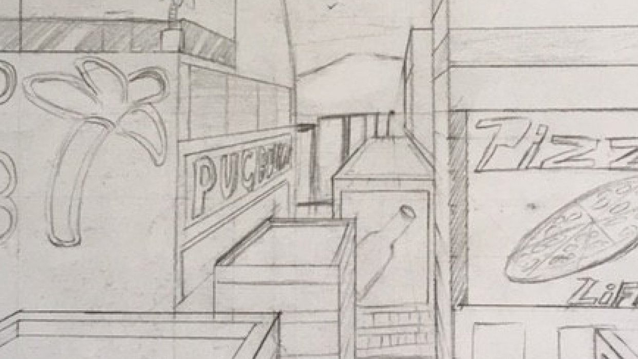 City perspective drawing - student project