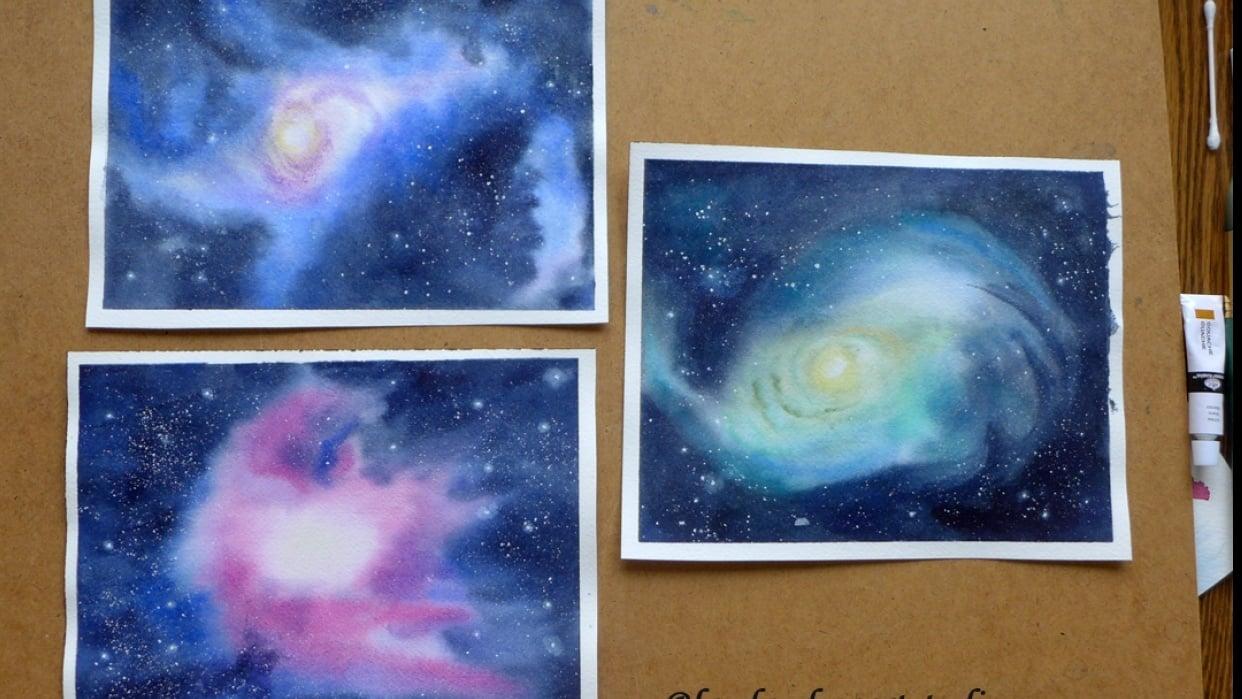 Watercolor Nebulas - student project