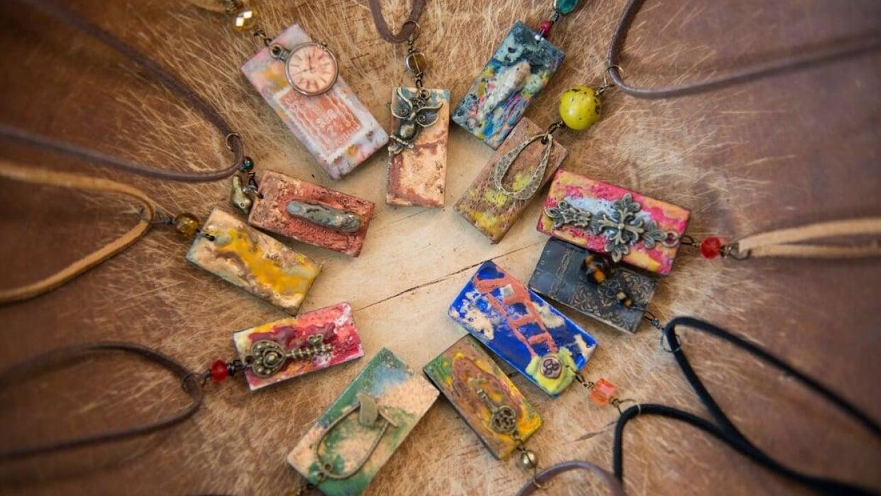 Encaustic Domino Necklace Pendant - student project