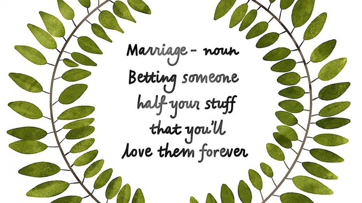 Marriage Quote + Watercolor Wreath - student project