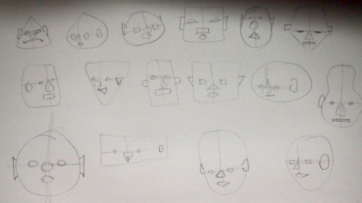 Step 1: first raw faces - student project