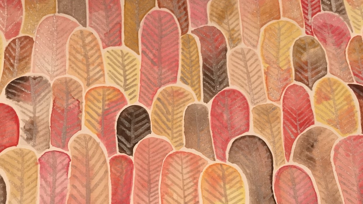 Forest of Feathers and Leaves - warm tones - student project