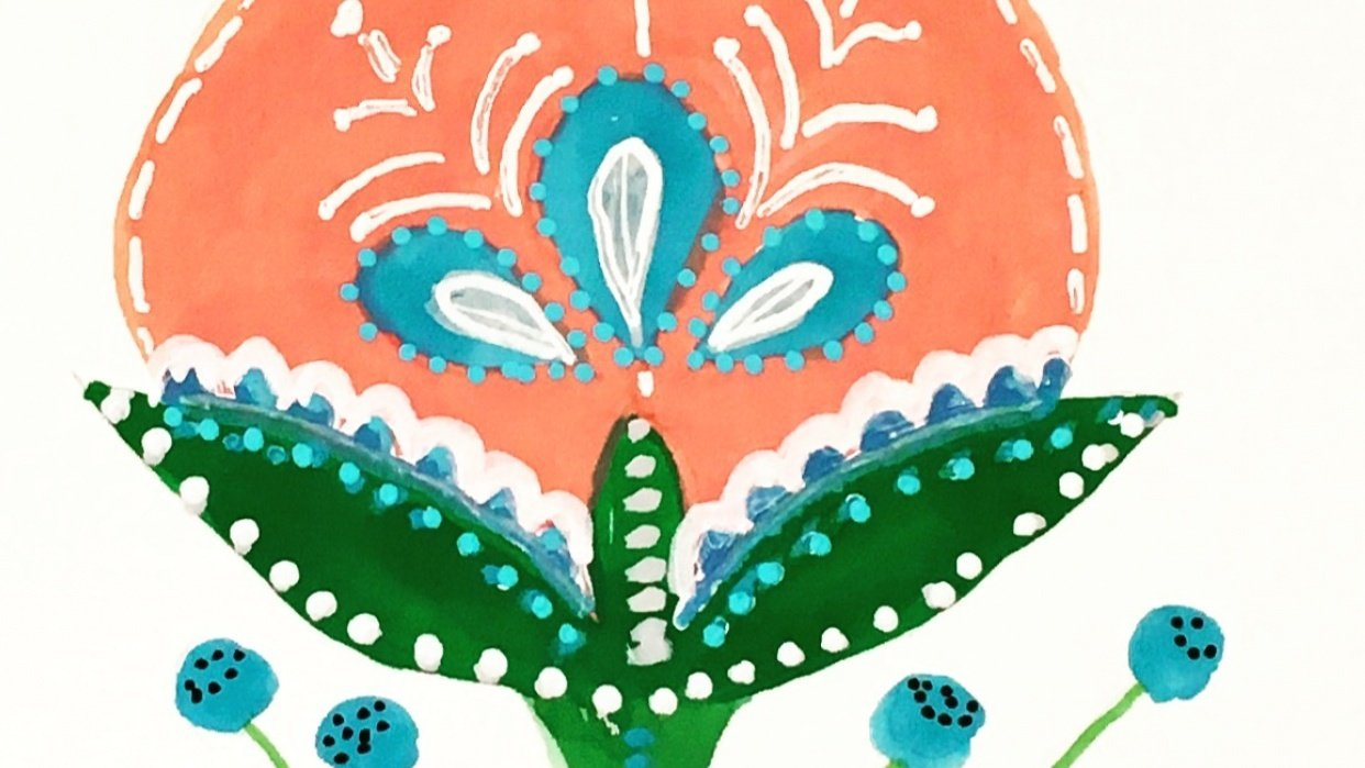Folk Art Floral - student project