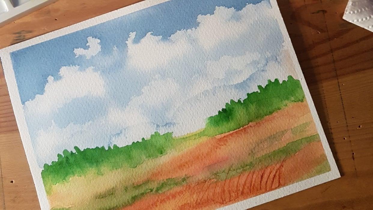 Watercolor Secrets Clouds - student project